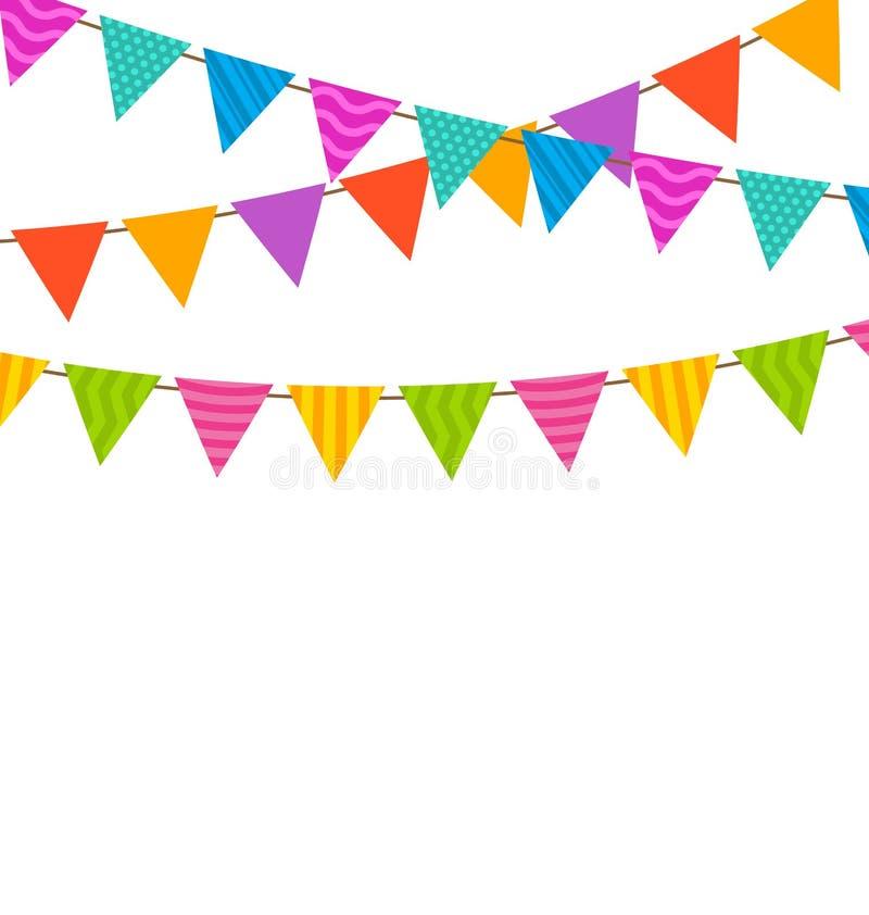 Vastgestelde Kleurrijke Buntings Vlaggenslingers vector illustratie