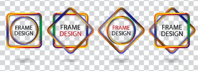 Vastgestelde kleurrijke geometrische kaders op een transparante achtergrond Vector royalty-vrije illustratie