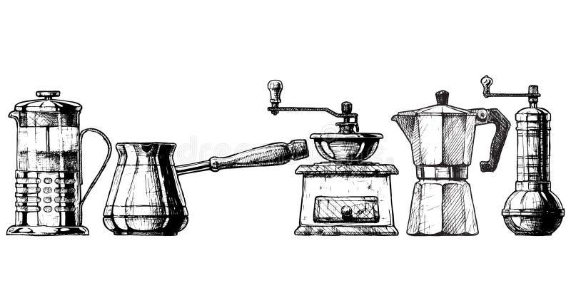 Vastgestelde koffie die materiaal maken stock illustratie