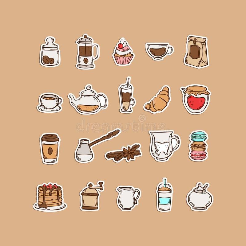Vastgestelde koffie en de thee van het kleuren de Hand getrokken pictogram royalty-vrije illustratie