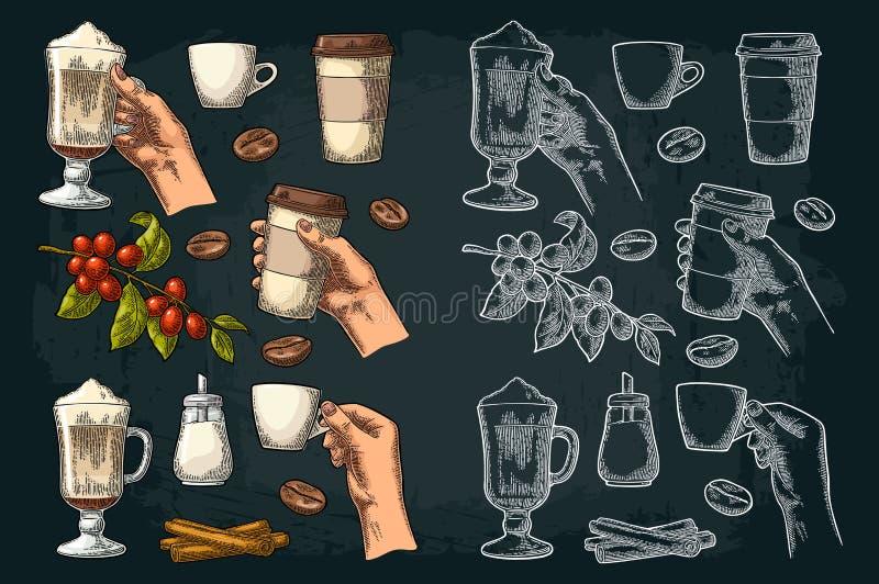 Vastgestelde koffie Glas latte, de kop van de handgreep Tak met bonen stock illustratie