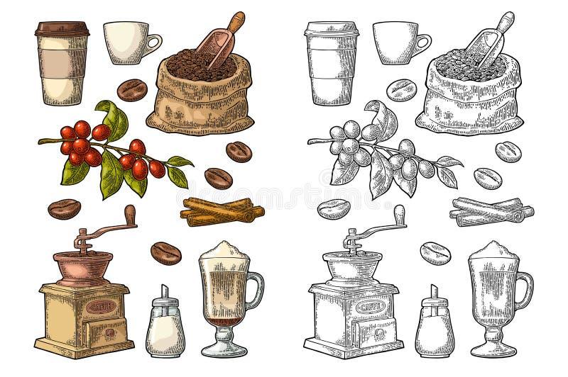 Vastgestelde koffie Glas latte, de kop van de handgreep Tak met bonen royalty-vrije illustratie