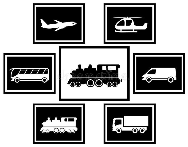 Vastgestelde lading en vrachtvervoerpictogrammen royalty-vrije illustratie