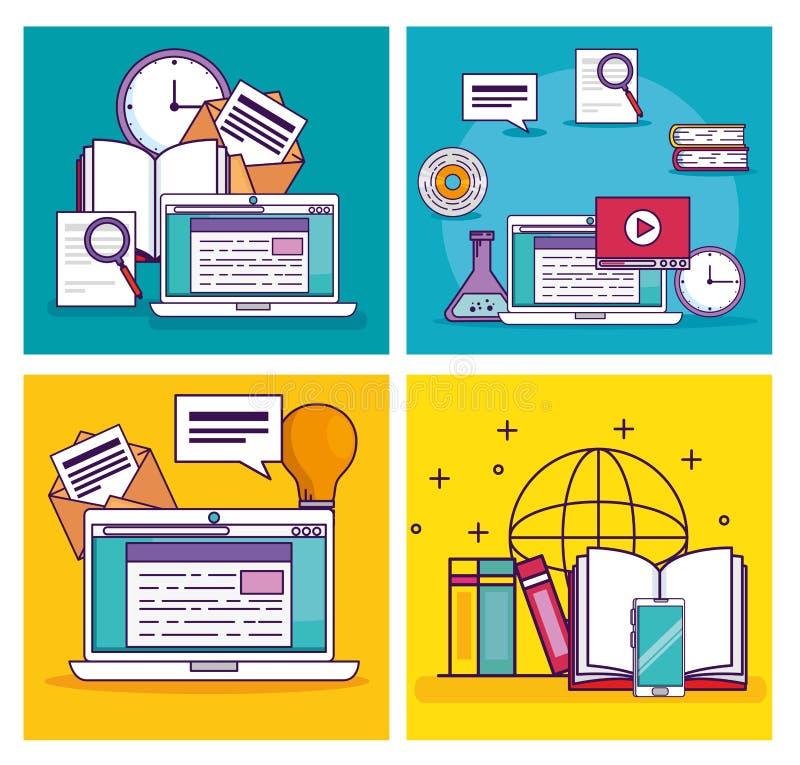 Vastgestelde laptop technologie met het elearning van documentonderwijs stock illustratie