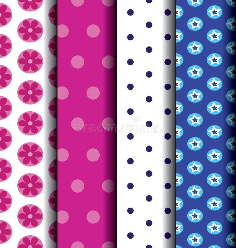 Vastgestelde Leuke gevormd blauw en roze royalty-vrije illustratie