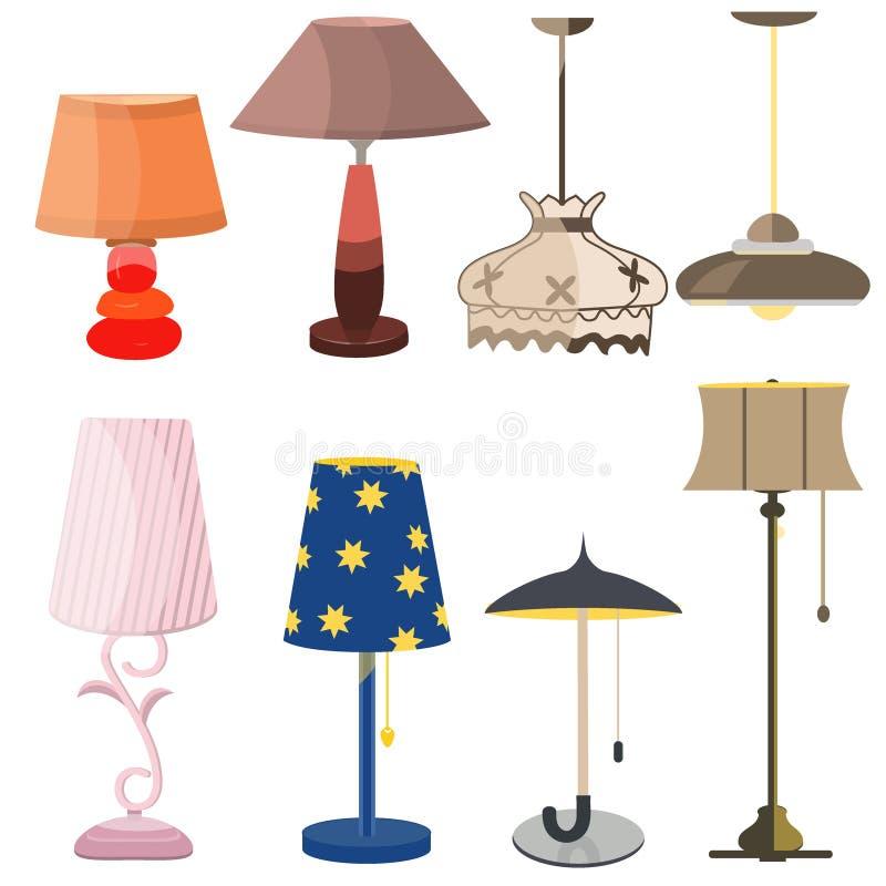 Vastgestelde lichte het ontwerp elektrische vector van het lampenmeubilair royalty-vrije stock fotografie