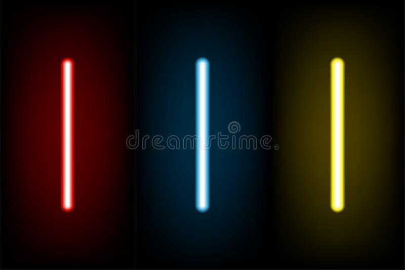 Vastgestelde lichtrode en blauwe, gele neonbrief I, vectorillustratio vector illustratie