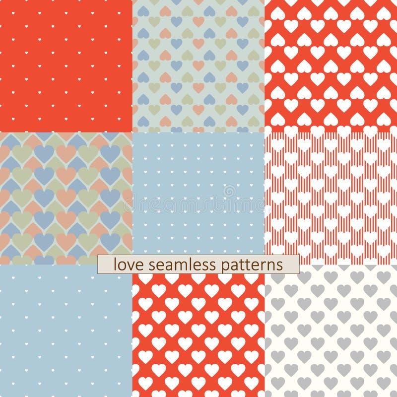 Vastgestelde liefde naadloze patronen vector illustratie