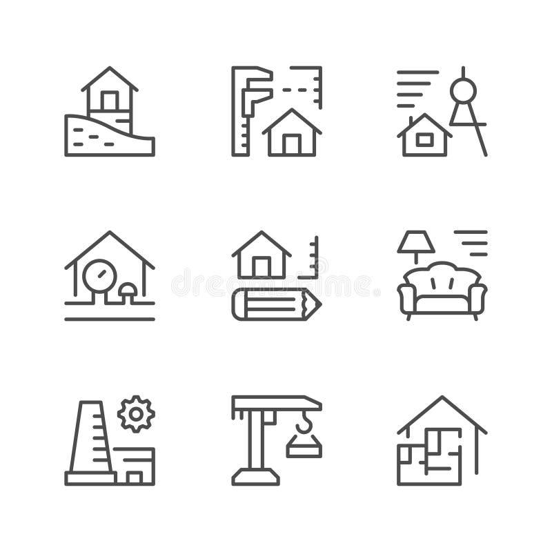 Vastgestelde lijnpictogrammen van architecturaal vector illustratie