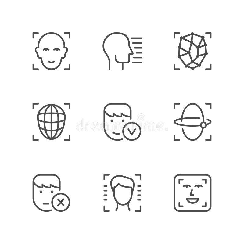 Vastgestelde lijnpictogrammen van gezichtsidentiteitskaart stock illustratie