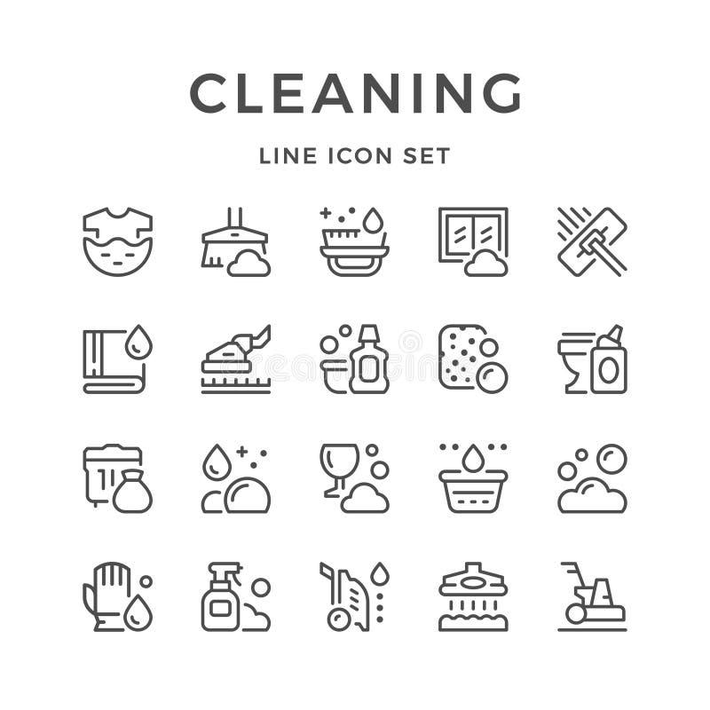 Vastgestelde lijnpictogrammen van het schoonmaken vector illustratie