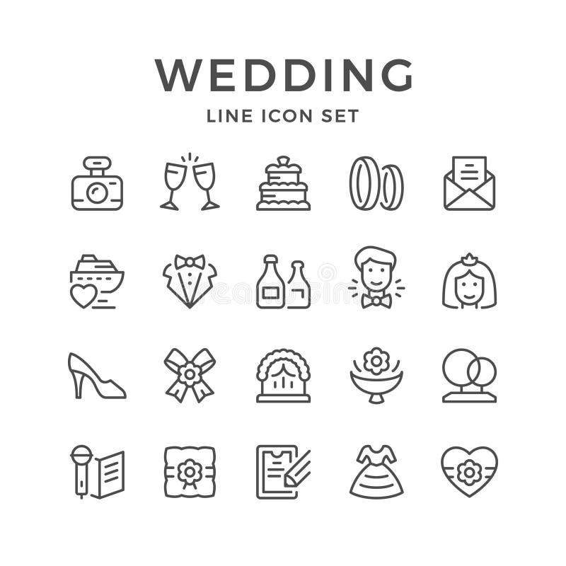 Vastgestelde lijnpictogrammen van huwelijk vector illustratie