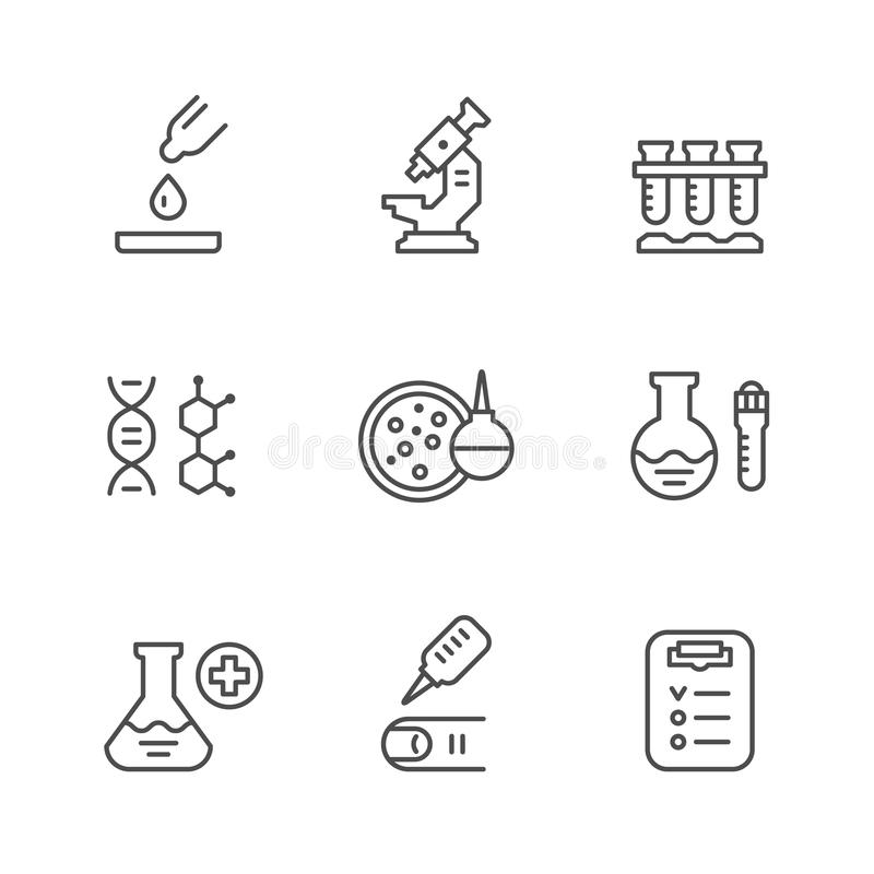 Vastgestelde lijnpictogrammen van medische analyse vector illustratie