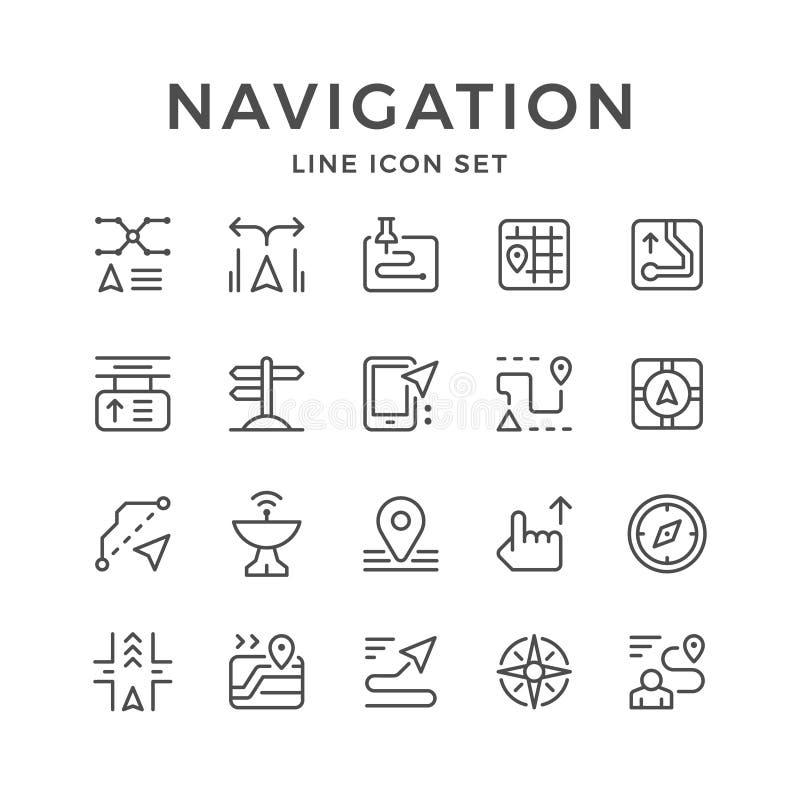 Vastgestelde lijnpictogrammen van navigatie stock illustratie