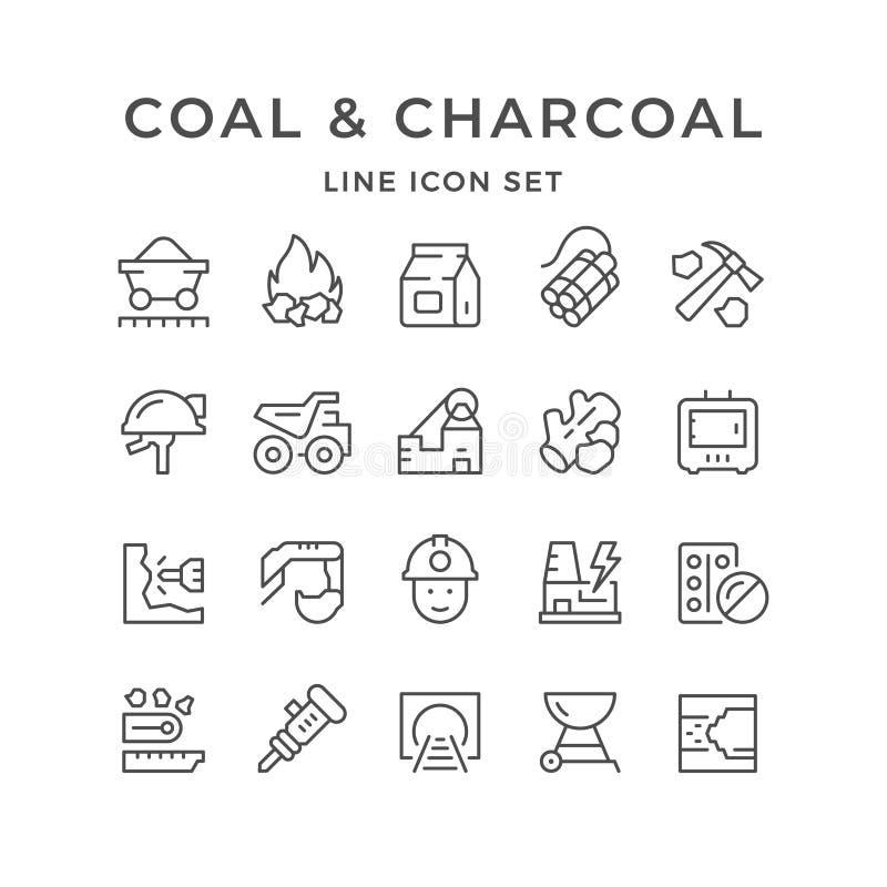 Vastgestelde lijnpictogrammen van steenkool en houtskool royalty-vrije illustratie