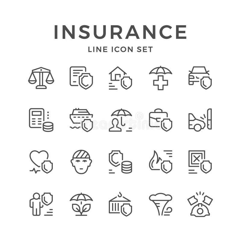 Vastgestelde lijnpictogrammen van verzekering vector illustratie