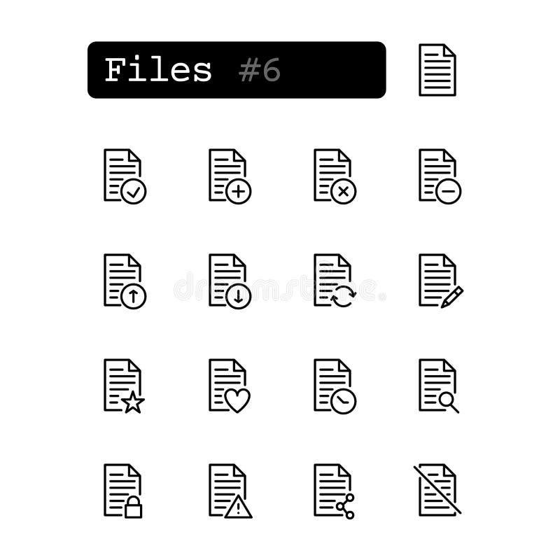 Vastgestelde lijnpictogrammen Vector Document, dossier vector illustratie