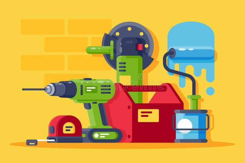 Vastgestelde machines en hulpmiddelen, allen voor reparatie stock illustratie