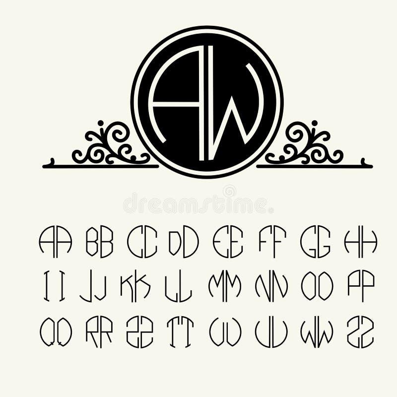Vastgestelde malplaatjebrieven om monogrammen te creëren stock illustratie