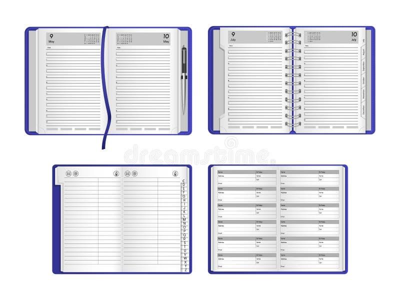 Vastgestelde malplaatjes van realistische open notitieboekjes, agenda's, organisatoren royalty-vrije illustratie