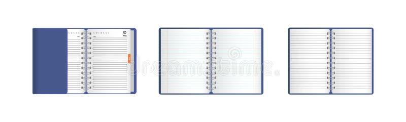 Vastgestelde malplaatjes van realistische open notitieboekjes, agenda's, organisatoren stock illustratie