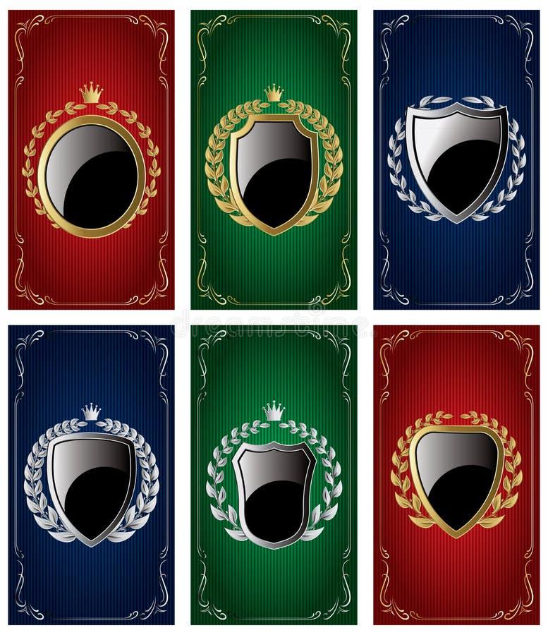 Vastgestelde malplaatjes voor adreskaartjes met Heraldische elementen en kronen royalty-vrije illustratie