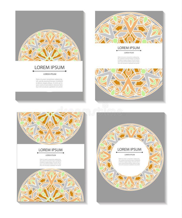 Vastgestelde malplaatjesadreskaartjes en uitnodigingen met cirkelpatronen van mandalas royalty-vrije illustratie