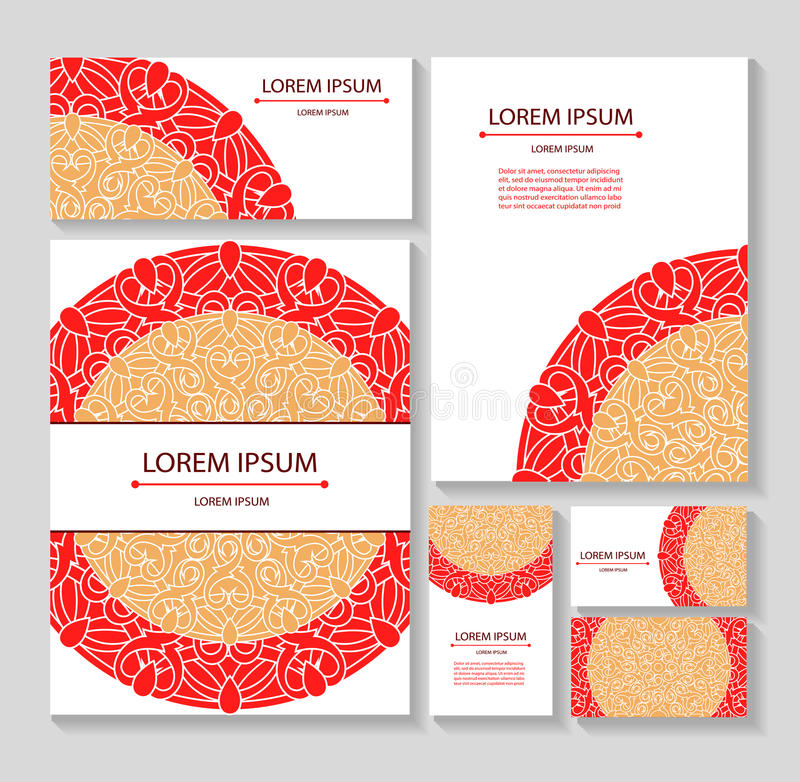 Vastgestelde malplaatjesadreskaartjes en uitnodigingen met cirkelpatronen van mandalas Collectieve stijl stock illustratie