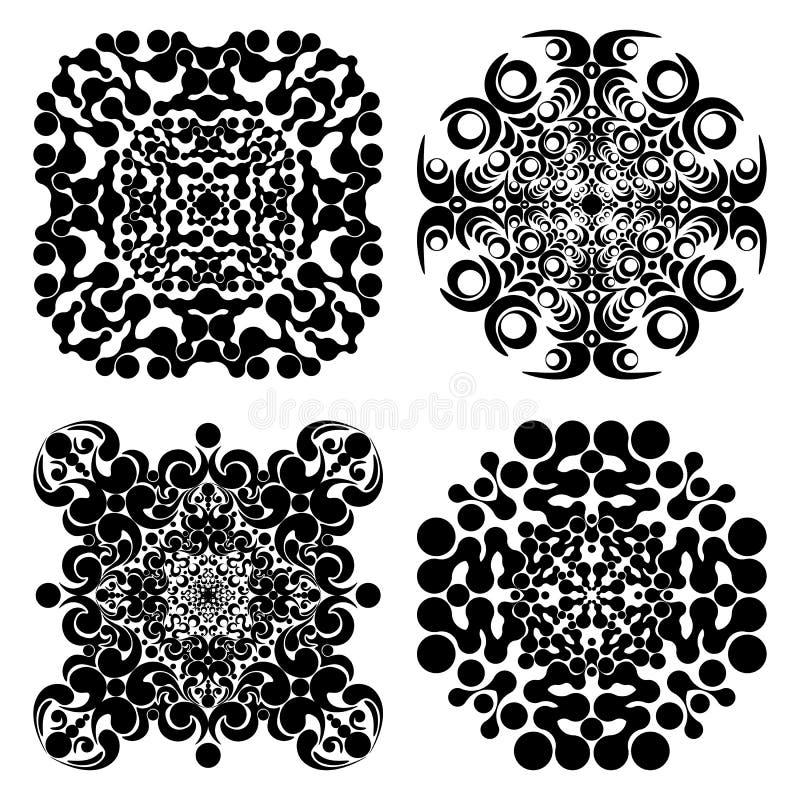 Vastgestelde mandalas Rond Ornamentpatroon Vector illustratie stock illustratie