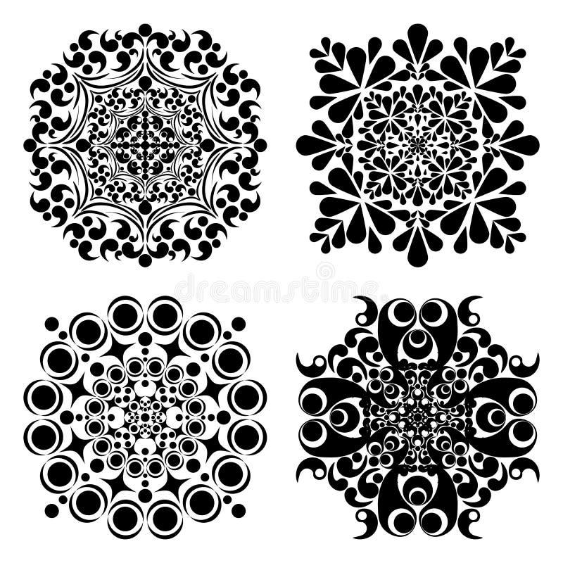 Vastgestelde mandalas Rond Ornamentpatroon Vector illustratie royalty-vrije illustratie