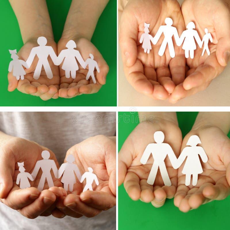 vastgestelde mannetje en children& x27; s handen die een document menselijke familie houden stock afbeeldingen