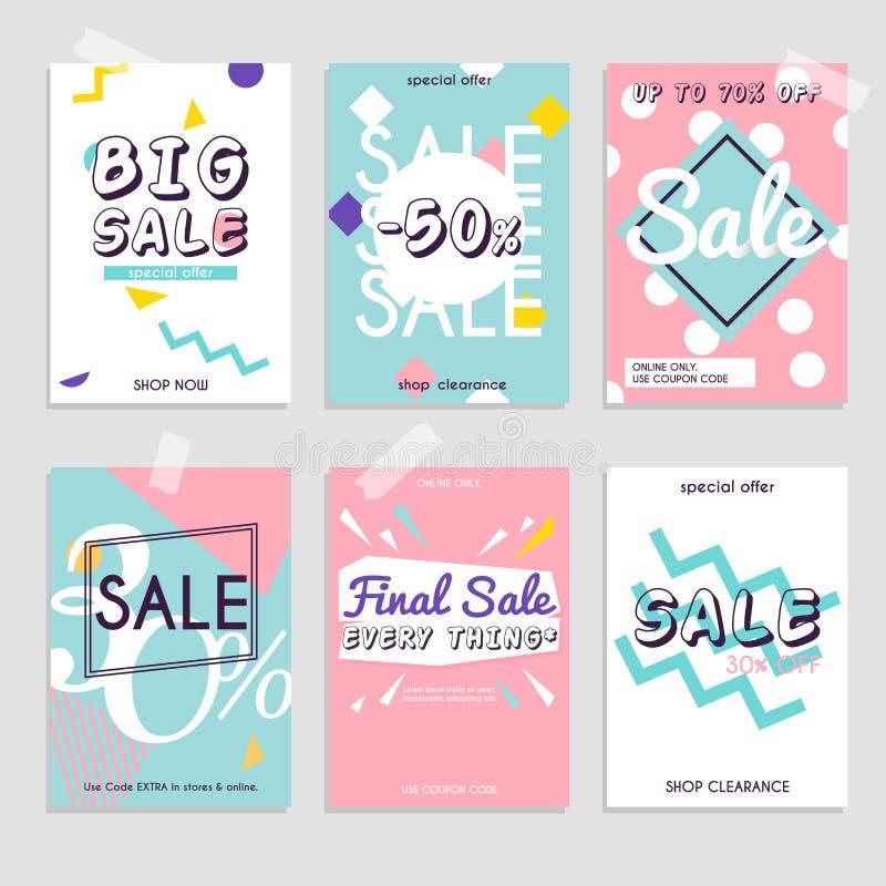 Vastgestelde media banners met kortingsaanbieding Het winkelen achtergrond, labe vector illustratie