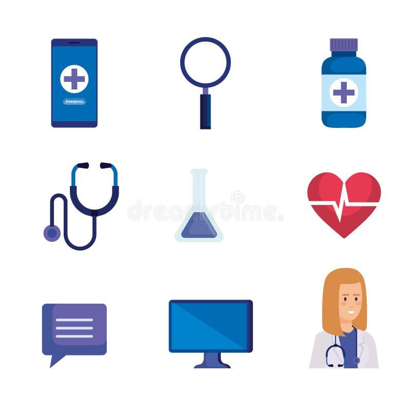 Vastgestelde medische apparatuur aan online technologiediagnose stock illustratie