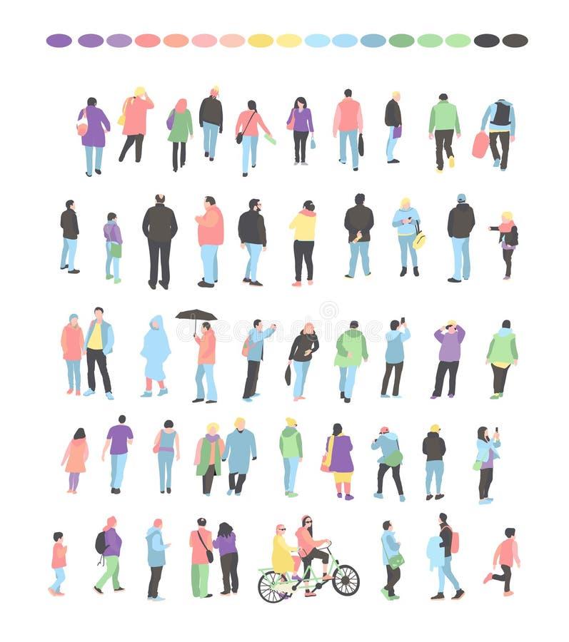 Vastgestelde menigte van mensenkarakters die diverse activiteiten uitvoeren Groep mannen en vrouwen het vlakke beeldverhaal van d stock illustratie