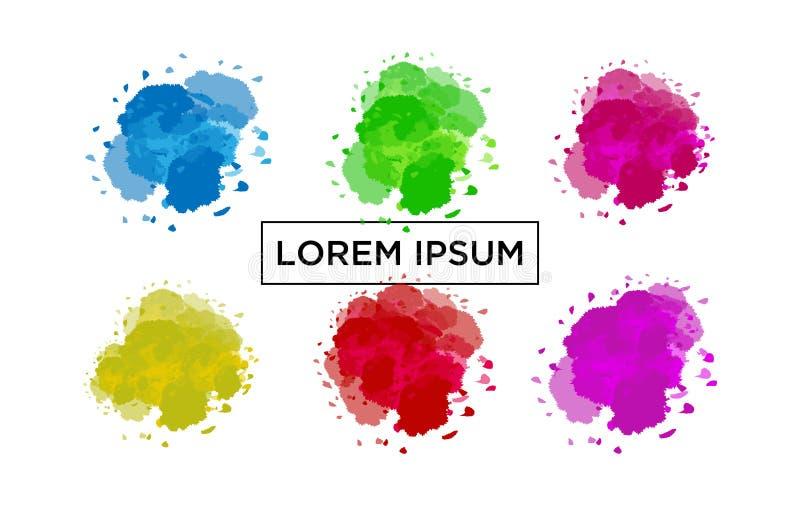 Vastgestelde moderne abstracte vectorachtergronden Vlakke geometrische vloeibare vormen met diverse kleuren Moderne vectormalplaa royalty-vrije illustratie