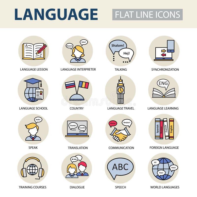 Vastgestelde moderne lineaire pictogrammen op het onderwerp van het leren van een vreemde taal royalty-vrije illustratie