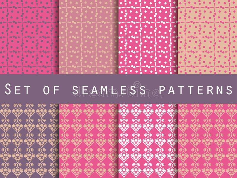 Vastgestelde naadloze patronen Purpere en roze kleur Het patroon voor wa royalty-vrije illustratie