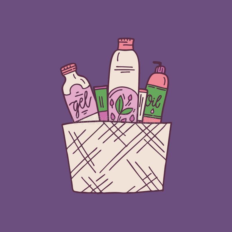 Vastgestelde natuurlijke organische schoonheidsmiddelenproducten in flessen, kruiken, buizen voor huid De zorg van de huid met de vector illustratie