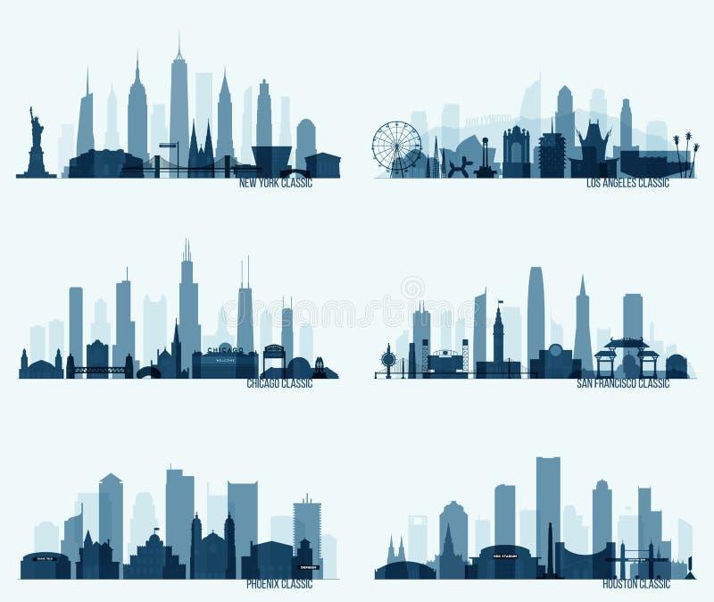 Vastgestelde Noordamerikaanse citie New York Chicago Phoenix stock illustratie