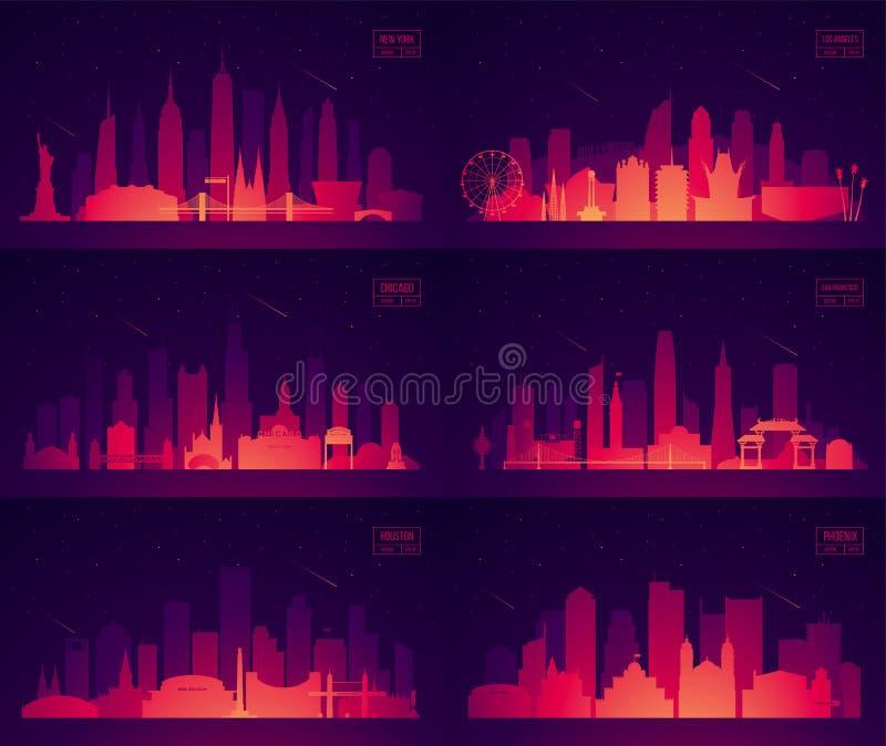 Vastgestelde Noordamerikaanse citie New York Chicago Phoenix vector illustratie