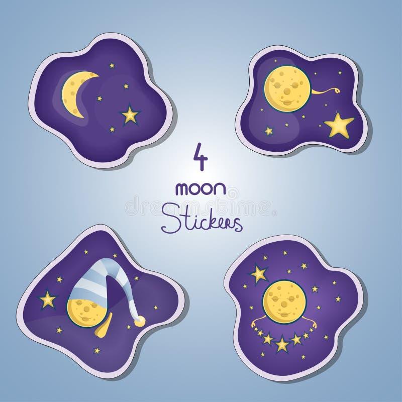 Vastgestelde od vier stickers van maankarakter Vector illustratie royalty-vrije illustratie