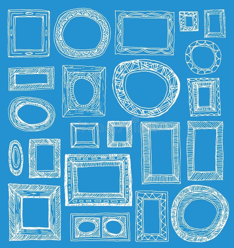 Vastgestelde omlijstingen, hand getrokken vectorillustratie vector illustratie