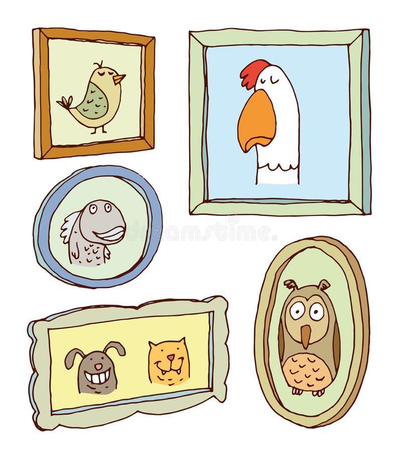 Vastgestelde omlijstingen met dierenportret, hand getrokken vectorillustratie royalty-vrije illustratie