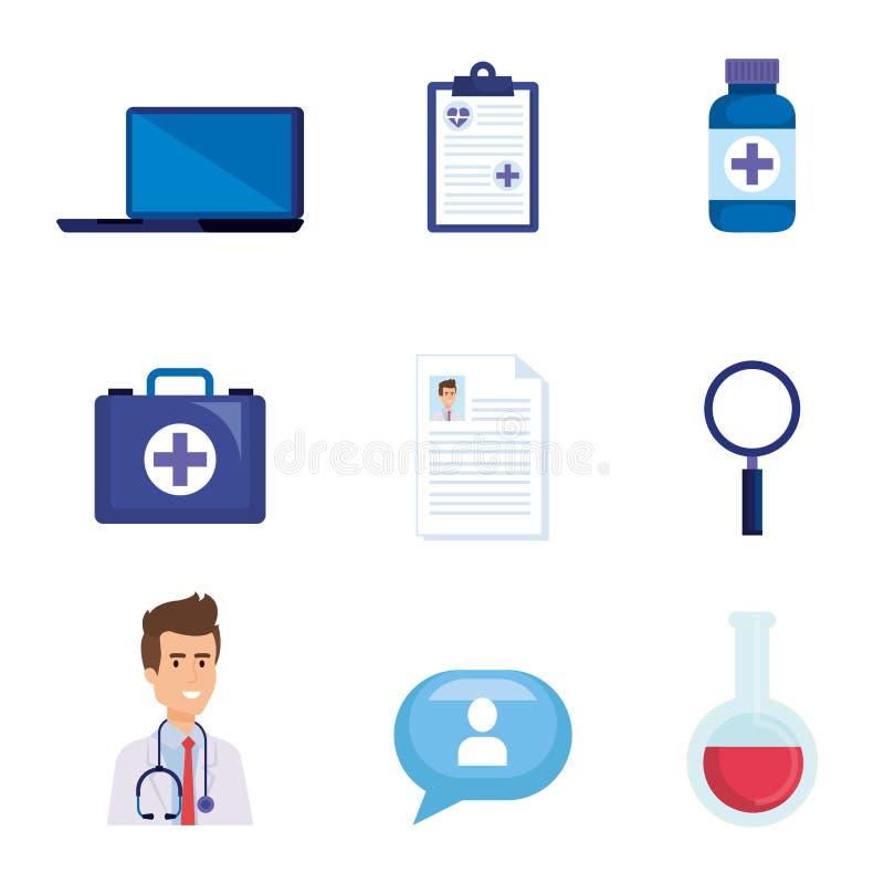 Vastgestelde online diagnosetechnologie met medische apparatuur vector illustratie