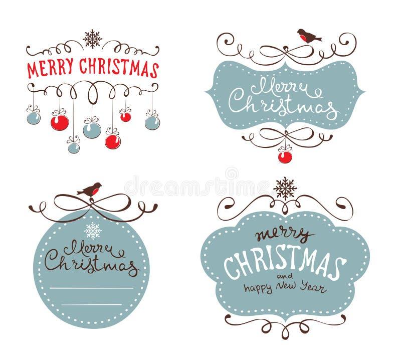 Vastgestelde ontwerpelementen voor Kerstmis en Nieuw jaar stock illustratie