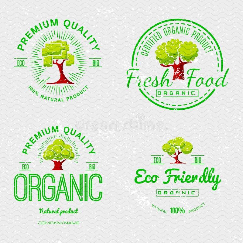 Vastgestelde Organische Natuurlijke Ecologiestickers vector illustratie
