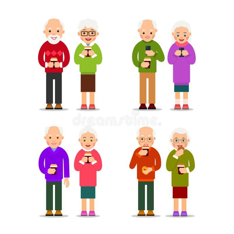 Vastgestelde oude mensen met koffie De oudere paren bevinden zich en drinken koffie Bejaarden en vrouwenrust met een kop van koff vector illustratie