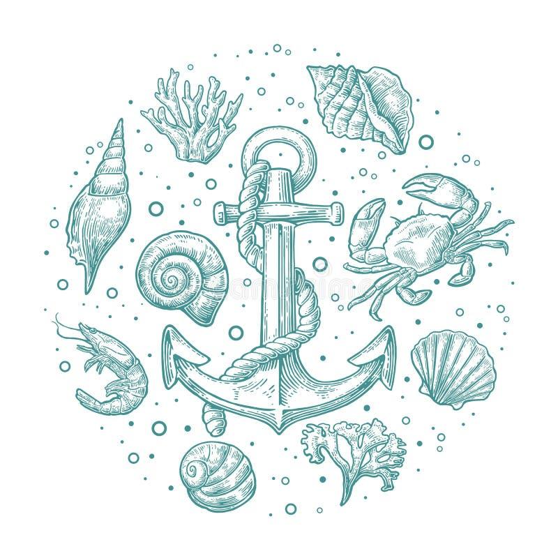 Vastgestelde overzees shell, koraal, krab, garnalen en anker vector illustratie