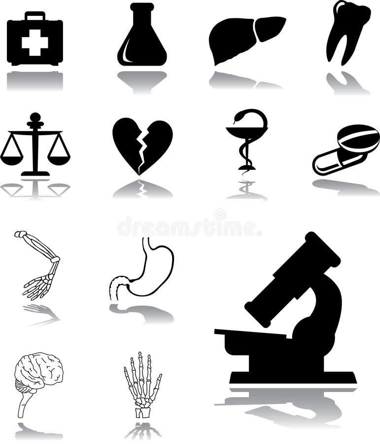 Vastgestelde pictogrammen - 119. Geneeskunde stock illustratie
