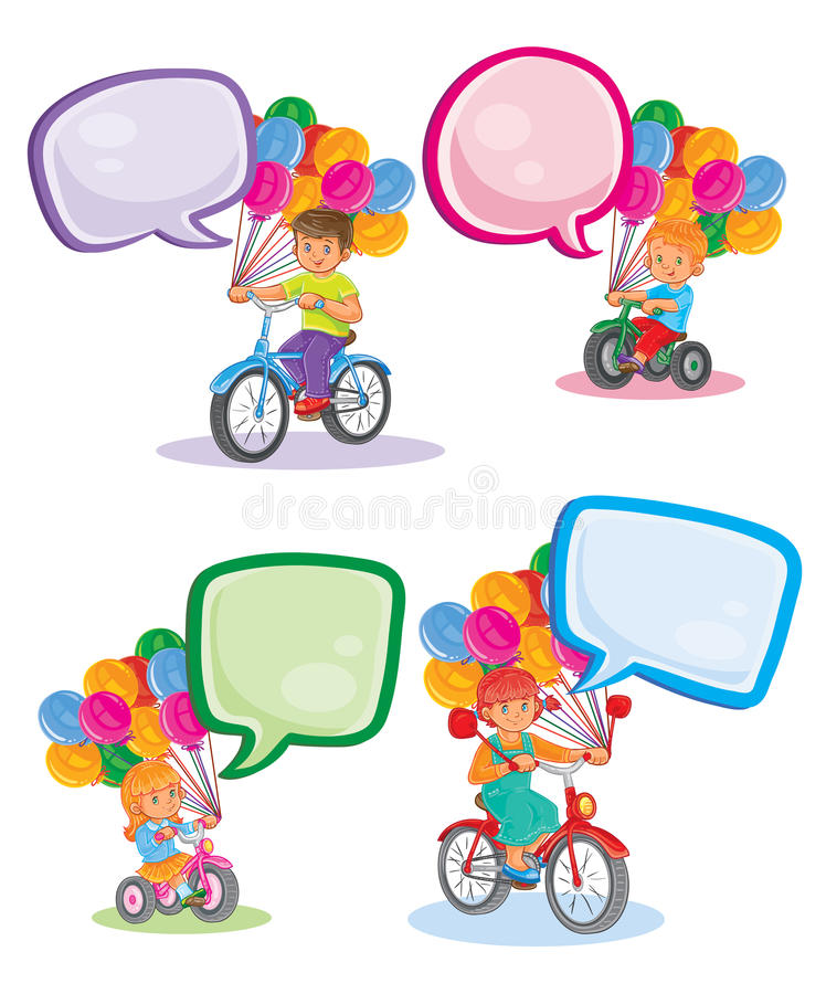 Vastgestelde pictogrammen kleine kinderen op fietsen stock illustratie